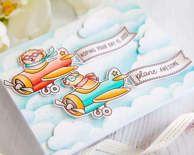 Sunny Studio Stamps: Plane Awesome Fluffy Clouds Border Dies Card by Keeway Tsao