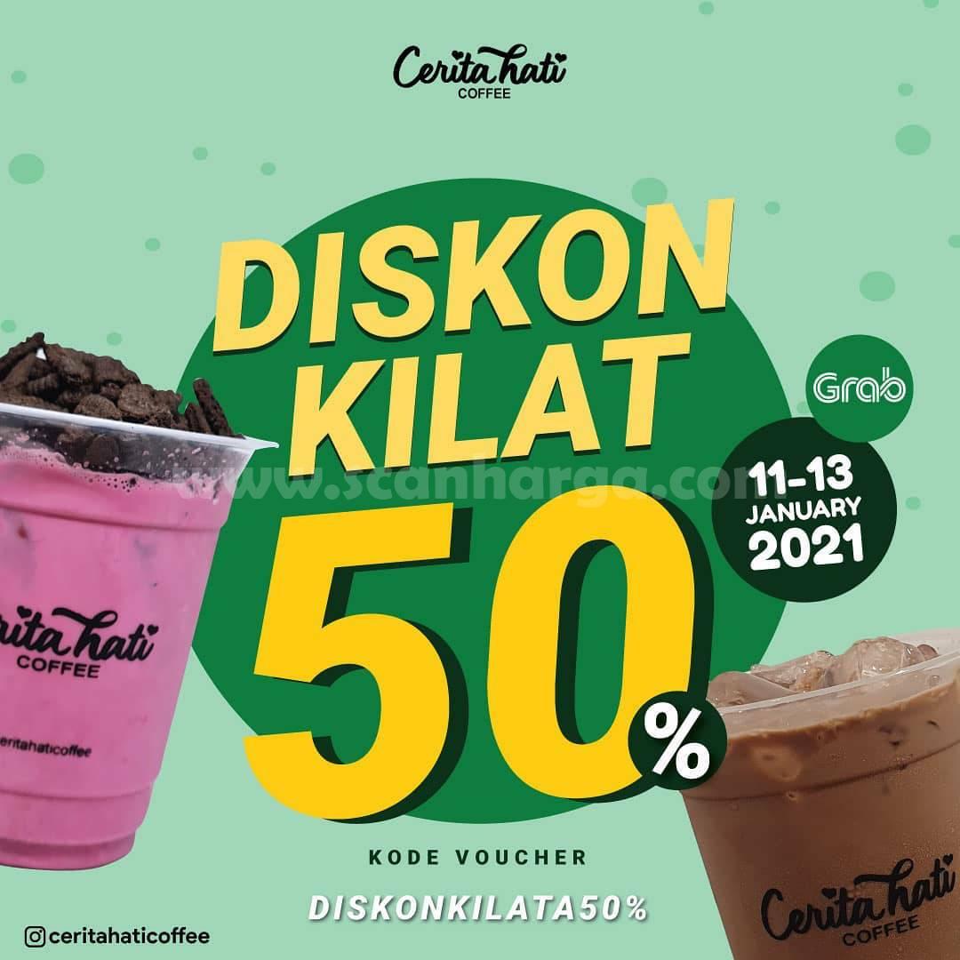 Promo Cerita Hati Coffee Diskon Kilat 50% pemesanan via Grabfood