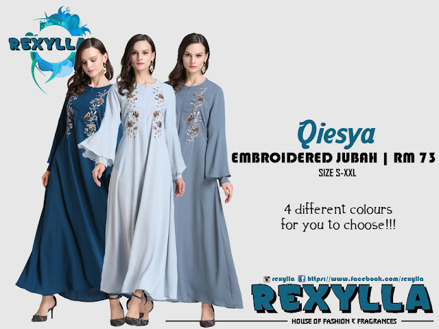 rexylla, floral embroidered jubah, embroidered jubah, qiesya collection