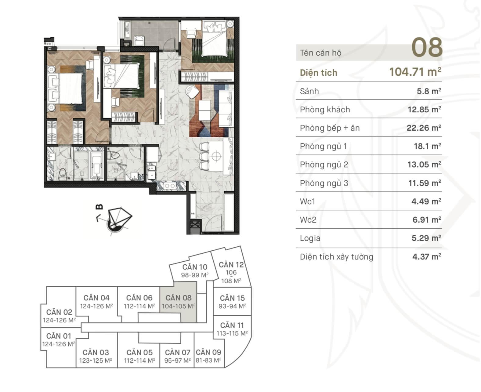 Thiết kế căn hộ 08 dự án King Palace