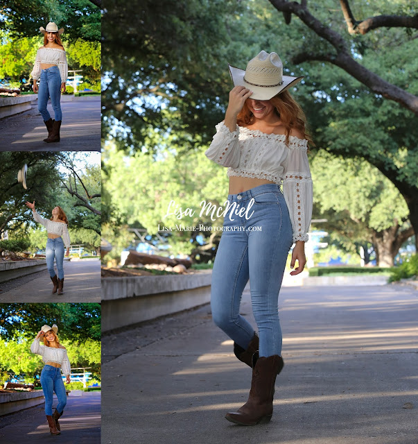 collage of teen girl in cowboy hat