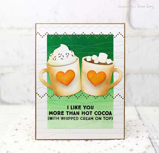 Laina Lamb Design Hug in a Mug stamp set and Hot Cocoa Cups Die-namics, and Homespun Stitch Lines and Stitched Strip Die-namics - Dana Gong #mftstamps