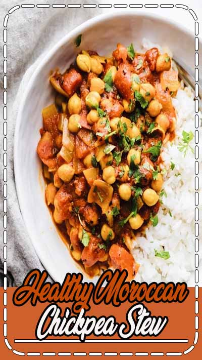 Healthy Moroccan Chickpea Stew - an easy dinner that is filled with plant-based protein, and tons of flavor! The perfect vegetarian dinner for fall/winter and great for meal prep. #asimplepalate #easydinner #lowcarbmeal #vegetariandinner #mealprep #healthydinner