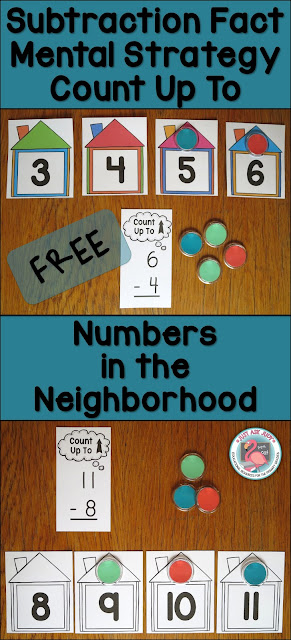 This free resource, Numbers in the Neighborhood, provides a concrete, visual way to introduce the Count Up To subtraction fact strategy with first and second graders.