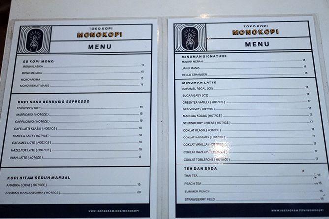 Daftar menu dan harga di Monokopi Jepara