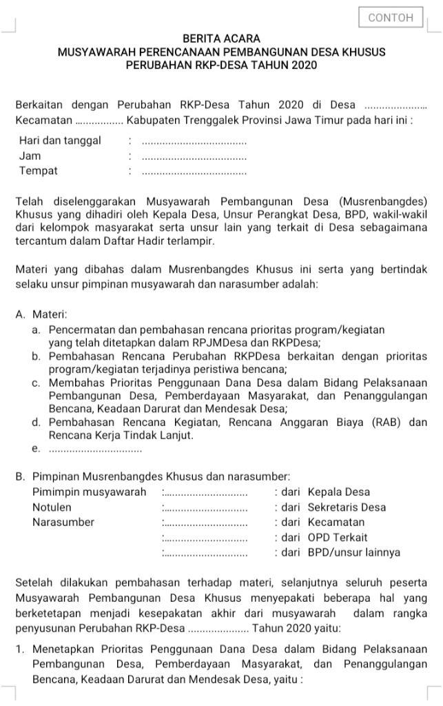Format Berita Acara Musyawarah Perencanaan Pembangunan Desa Khusus Perubahan RKP-Desa Tahun 2020