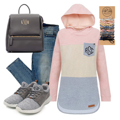 monogram hoodie and monogram sneakers