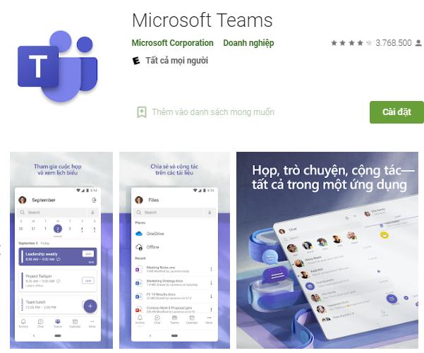 Download Microsoft Team trên máy tính, điện thoại học online miễn phí a