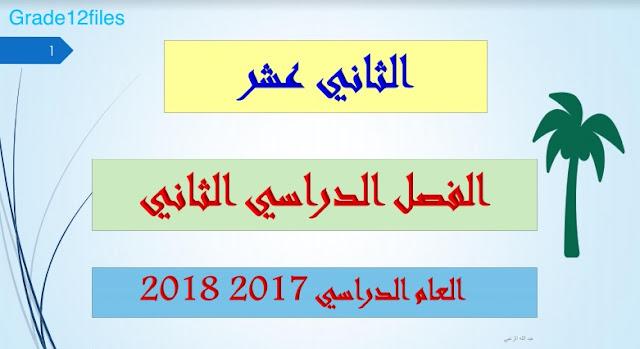 حل دروس اللغة العربية للصف الثاني عشر