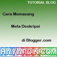 Cara Memasang Meta Deskripsi di blogger