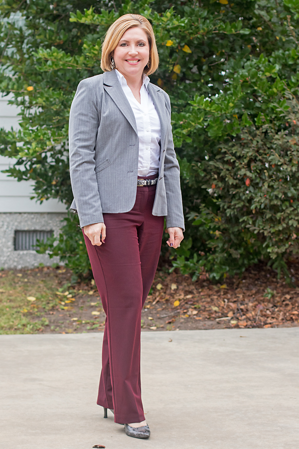 womens office outfit, snakeskin pumps, burgundy and grey office outfit