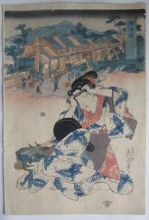 渓斎英泉 美人東海道 御油の浮世絵版画販売買取ぎゃらりーおおのです。愛知県名古屋市にある浮世絵専門店。