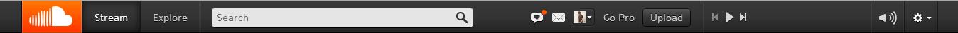 La barra de Navegación de Soundcloud
