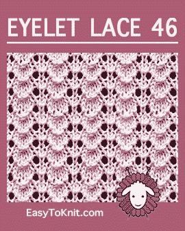 #Knit Tiny Shell stitch, Easy Eyelet Lace Pattern #easytoknit #knitlace
