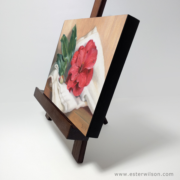 Side view of the camellia blossom oil painting