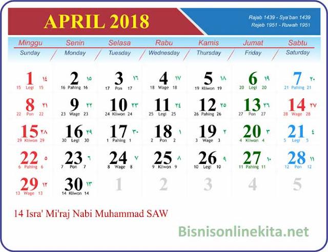 kalender april 2018