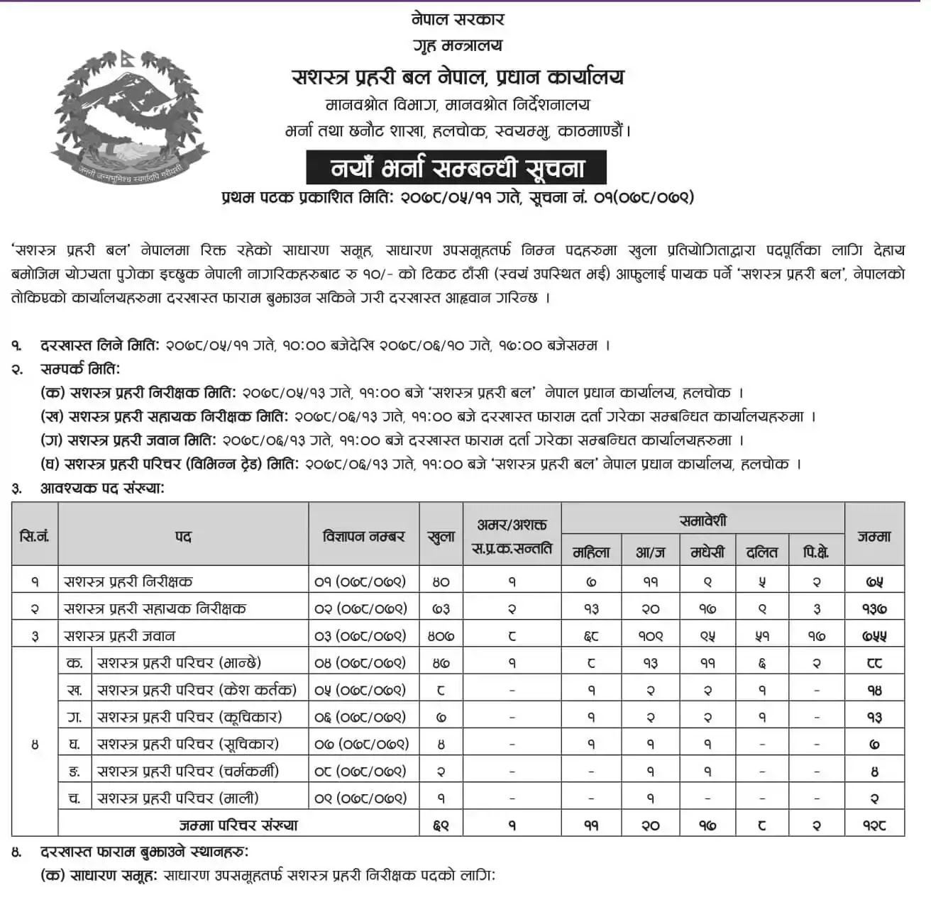 Job Vacancy In Nepal - Armed Police Force Vacancy Announcement 2078