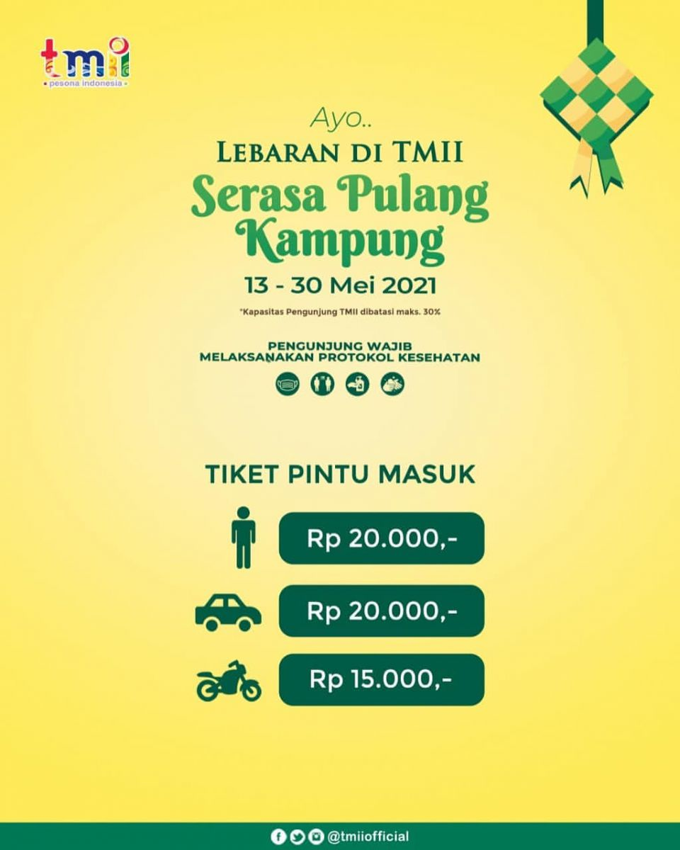 Harga Tiket Masuk Taman Mini [TMII] Lebaran Periode 13-30 Mei 2021 2