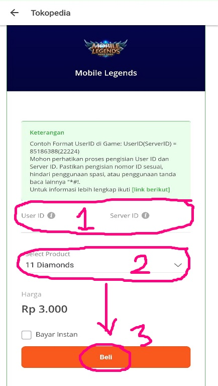 Mengisi Data Pembelian Diamond/ Voucher Mobile Legends di Tokopedia