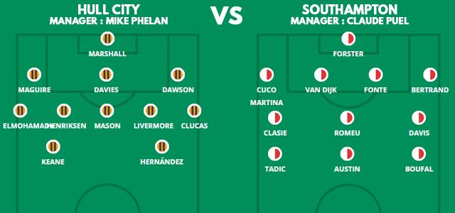Prediksi Susunan Pemain Hull City vs Southampton