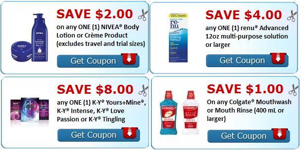 print New colgate, nivea, renu, k-y coupons