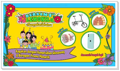 ulang tahun lemonilo ada giveaway dengan hadiah sepeda brompton, iphone dan uang jutaan rupiah