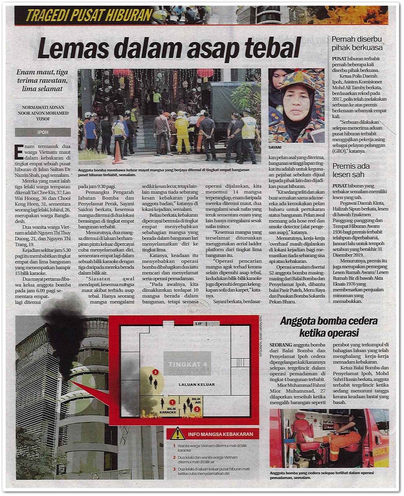 Tragedi pusat hiburan terbakar - Keratan akhbar Sinar Harian 21 Februari 2019