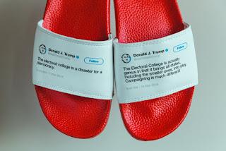 """رجل يحول تغريدات تويتر للرئيس الامريكي """"Donald Trump """" الى ملصقات للاحذية ويبيعها"""