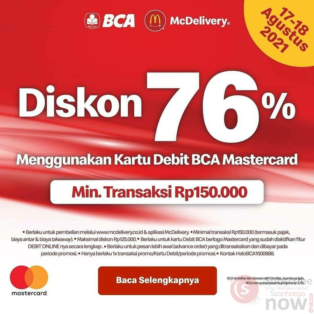 Promo McDonalds Merdeka - Diskon 76% dengan Kartu Debit BCA