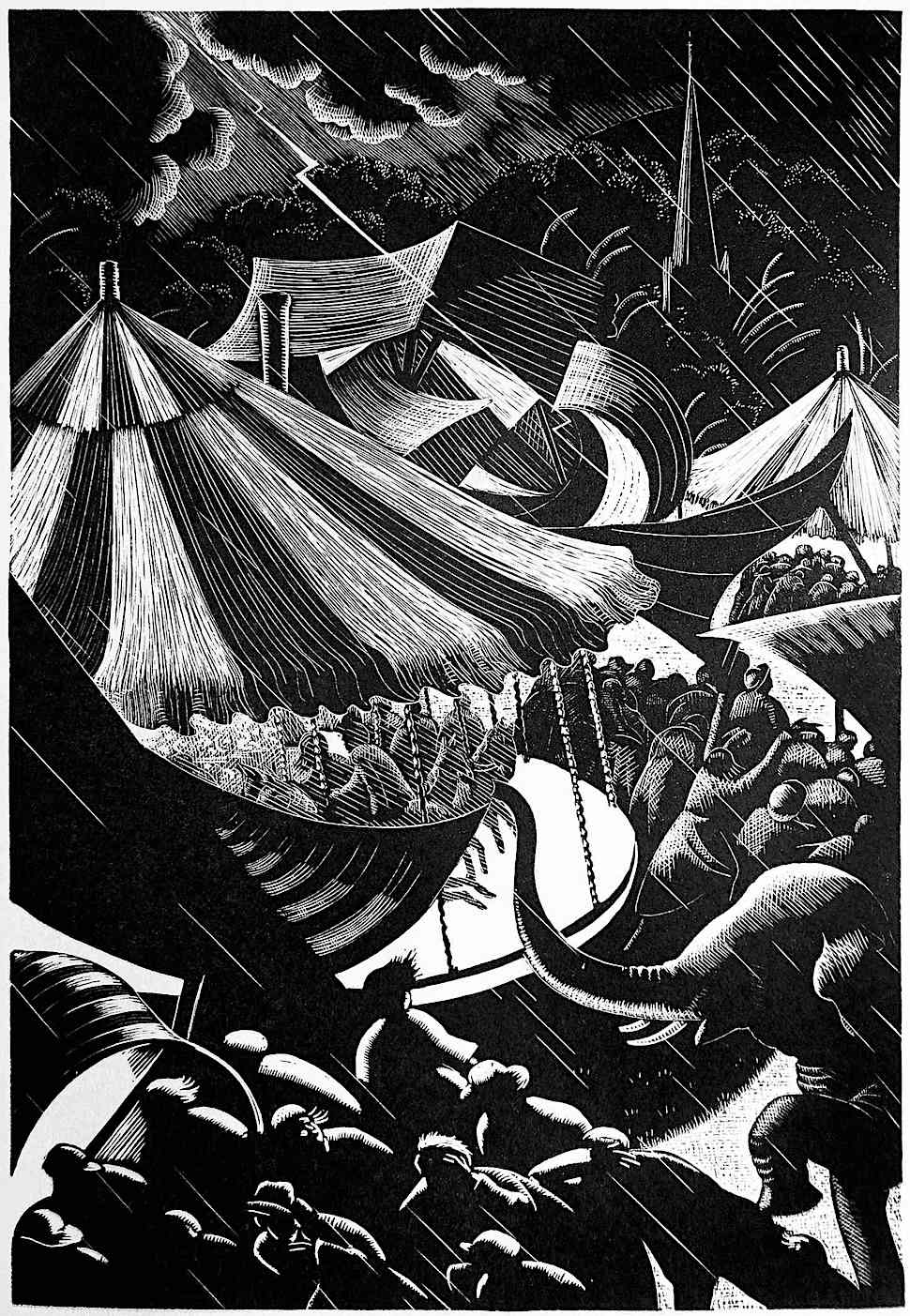 Clare Leighton 1937, a carnival caught in a storm