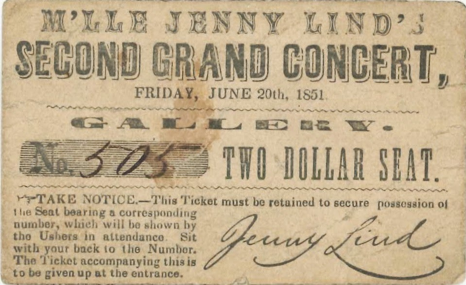 A ticket for Lind's Second Grand Concert.