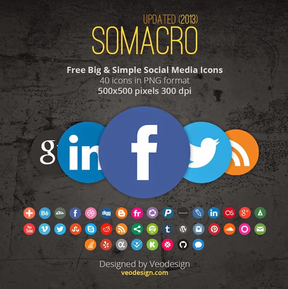 40 300DPI Round Social Media Icons