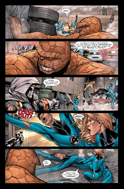 The Thing saving civilians with the help of truck while Taskmaster shoots Reed Richards