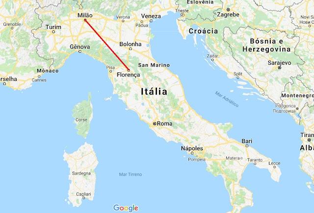 Mapa da viagem de Florença a Milão