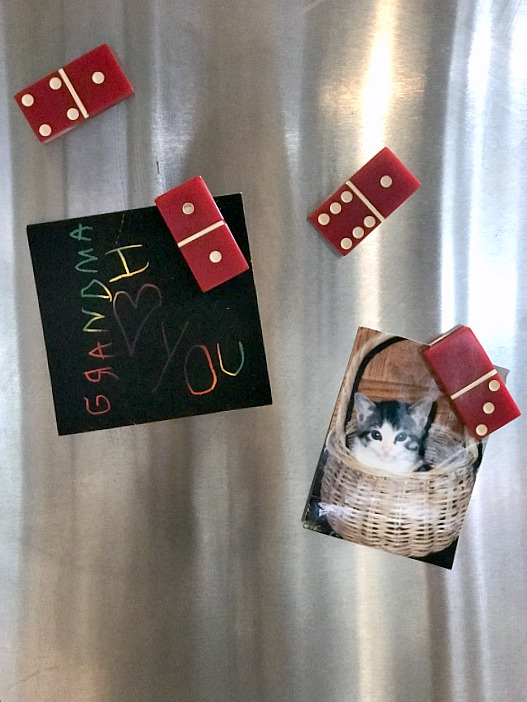 Easy to Make Red Domino Refrigerator Magnets