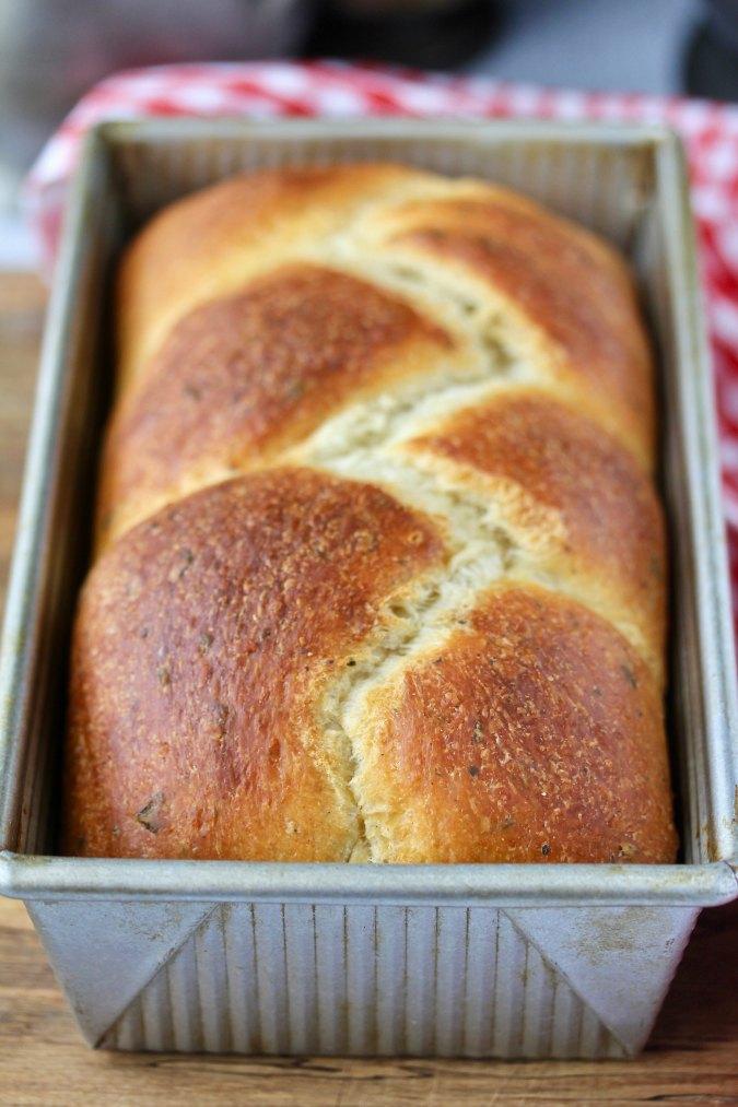 Crescia al formaggio bread in a pan