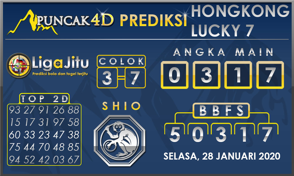 PREDIKSI TOGEL HONGKONG LUCKY7 PUNCAK4D 28 JANUARI 2020