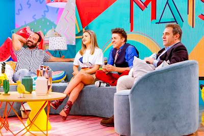 Lucas Gentil (diretor do programa), Maisa Silva, Oscar Filho e Fernando Pelegio (diretor artístico do SBT) - Foto: Gabriel Cardoso/SBT