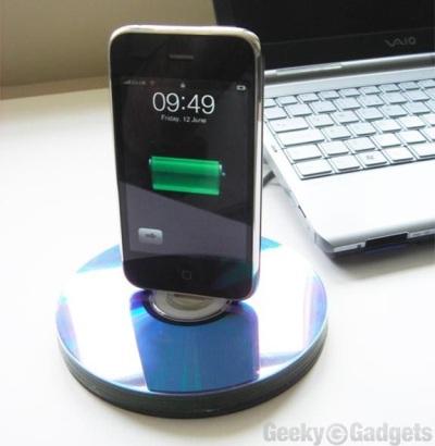 iPhone Dock dari recycle CD