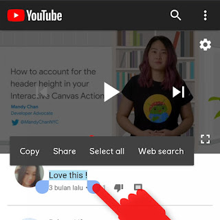 Cara Copy Paste Komentar di YouTube lewat HP