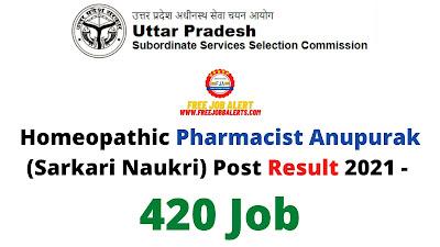 Sarkari Result: Homeopathic Pharmacist Anupurak (Sarkari Naukri) Post Result 2021 - 420 Job