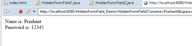Hidden Form Field in Servlet
