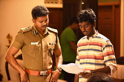 Vijay with atlee on location stills