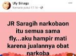 Akun Facebook Uly Sinaga: JR Saragih 'narkobaon'
