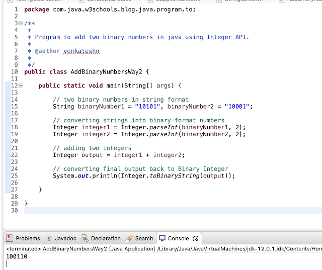 Java Program to Add Two Binary Numbers - way 2 using Integer API