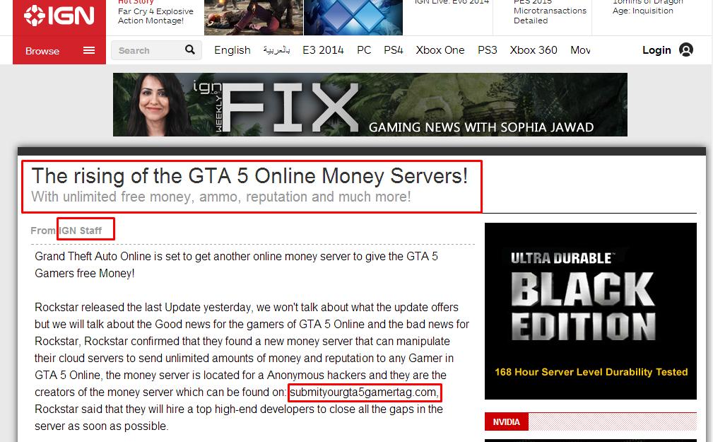 GTA V   GTA V Online Money Server