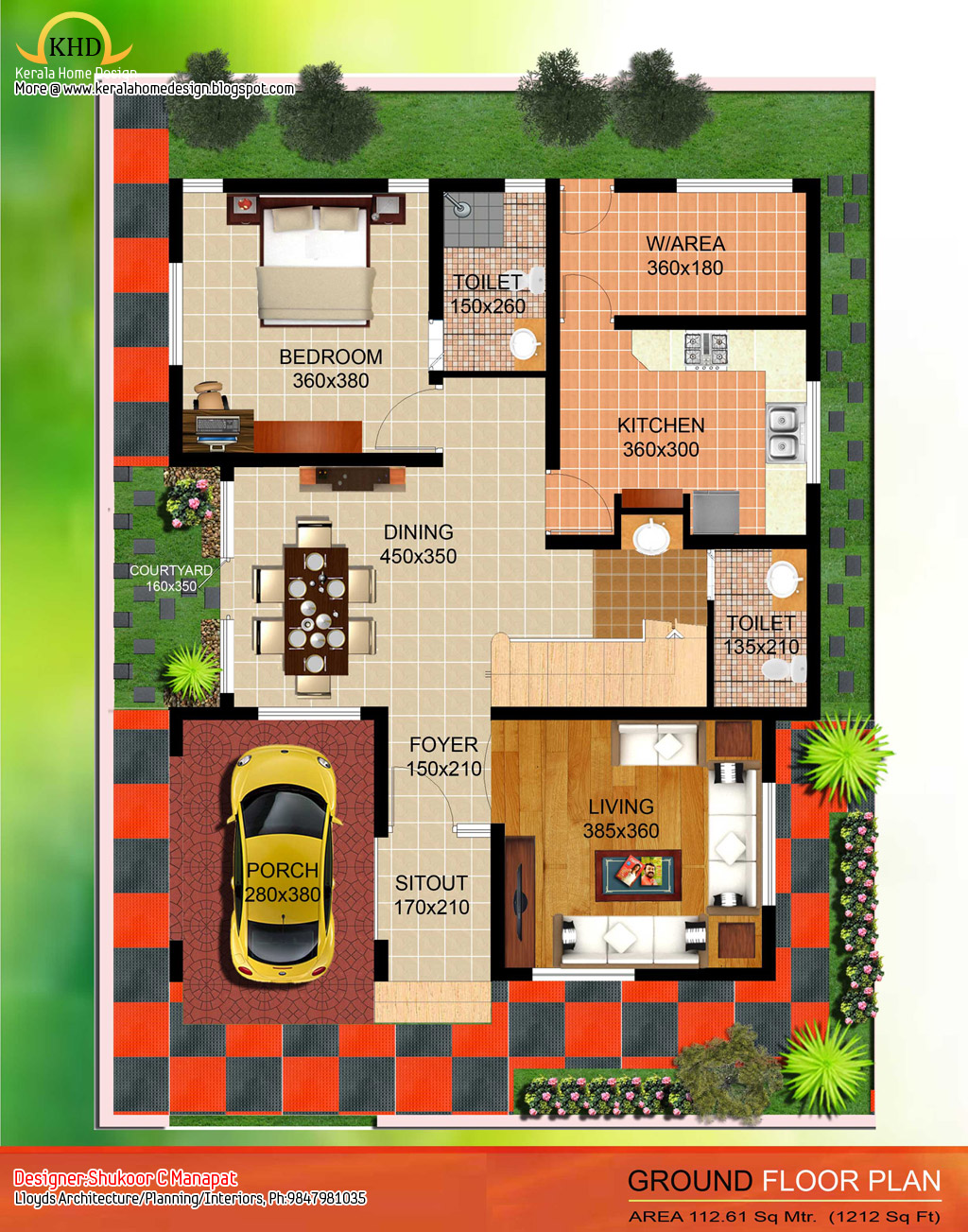 2035 sq ft 4 bedroom contemporary villa elevation and for Kerala 3d home floor plans