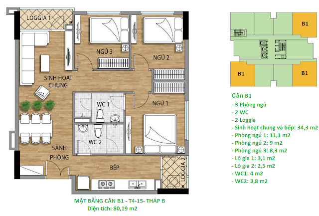 Căn hộ B1 diện tích 80,19 m2 tầng 4-15 Valencia Garden