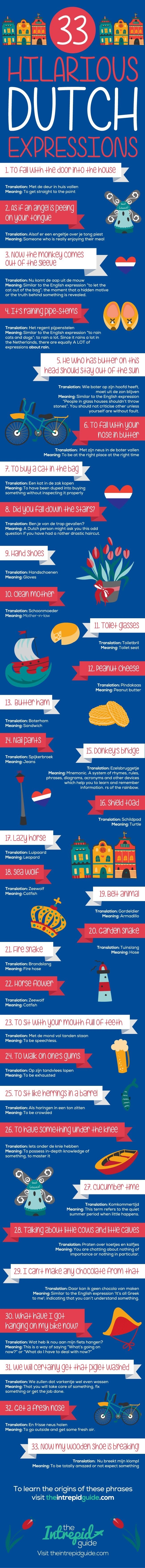 33 Eye Wateringly Comic Dutch phrases and curiosity #infographic