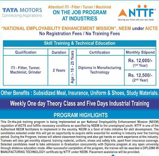 ITI Jobs Vacancy Under Neem Trainee Post In Tata Motors Ltd. Cars Manufacturing Plant in Sanand, Gujarat